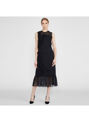 Vekem-Limited Edition Sıfır Kol Volan Detaylı Elbise Siyah